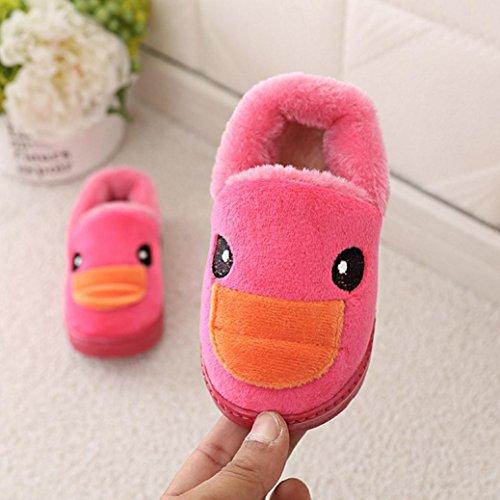 Huhu833 Kinder Mode Baby Schuhe, Keep Warm Plüsch Kleinkind Turnschuhe Cartoon Ente Kind Beiläufige Winter Warme Stiefel Schuhe Hot Pink