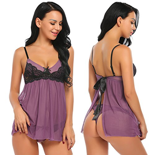 Ekouaer Womens Sexy Lingerie Babydoll Set Sheer Nightwear Lace Chemise S-XXL