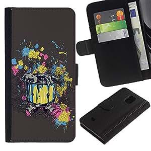 Be Good Phone Accessory // Caso del tirón Billetera de Cuero Titular de la tarjeta Carcasa Funda de Protección para Samsung Galaxy S5 Mini, SM-G800, NOT S5 REGULAR! // Abstract Zombi