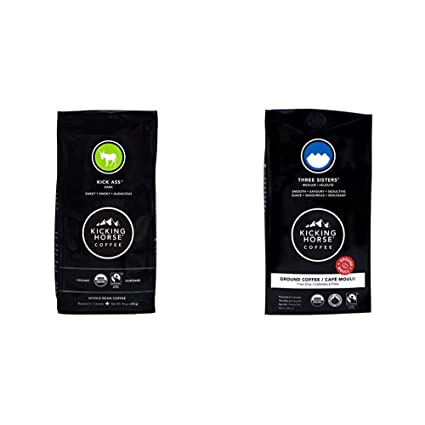 Amazon Com Kicking Horse Coffee Kick Ass Dark Roast Whole Bean 10 Oz Three Sisters Medium Roast Ground 10 Oz Certified Organic Fairtrade Kosher Coffee Grocery Gourmet Food