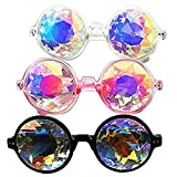 DODOING 2017 New Fashion Round Kaleidoscope Sunglasses Men Women Catwalk Show Rave Festival EMD Party Designer Eyewear Colorful Lens Kaleidoscope Glasses Cosplay goggles
