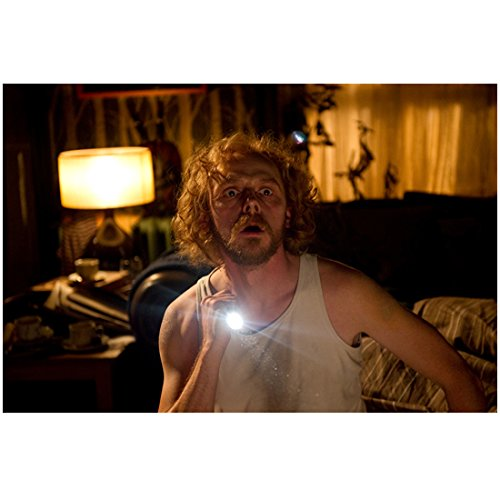 A Fantastic Fear of Everything Simon Pegg as Jack in White Tank Top Holding Flashlight 8 x 10 inch photo