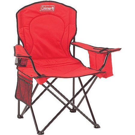 Coleman Oversized Quad Chair with Cooler Pouch - Red