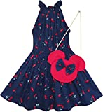 Sunny Fashion Big Girls Dress Cherry Fruit Print Cotton with Cute Handbag, Blue, 8