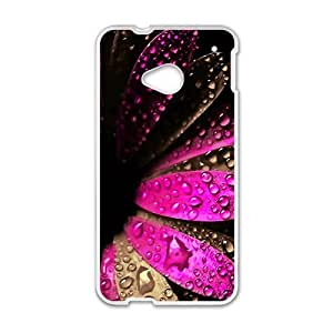 Personalized Clear Phone Case For HTC M7,red flower with water drop