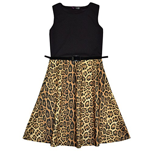 adac71b3b Girls Skater Dress Kids Leopard Contrast Panel Summer Party Dresses New Age  7-13