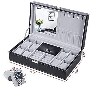 BEWISHOME Watch Jewelry Box 8 Watch Organizer 3 Grids for Jewelry Display Storage Men Woman Watch Case with Mirror and Metal Hinge Black PU Leather SSH05B