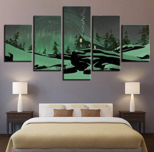 (JFSJDF Modern Canvas Painting HD Printed Office Wall Art Pictures 5 Pieces Natural Scenery Poster Decoration Home Living Room,20x35x2 20x45x2 20x55cmx1)