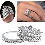Sumanee 2pcs Size 7 Silver Bride Wedding Rhinestone Crown Band Ring Set