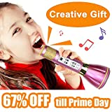 NeWisdom Creative Gifts for Girls Bluetooth Speaker Wireless Karaoke Microphone with Princess Design, Ideal Birthday gifts Present for Young Girls Teenagers with Premium Gift Packing - Purple