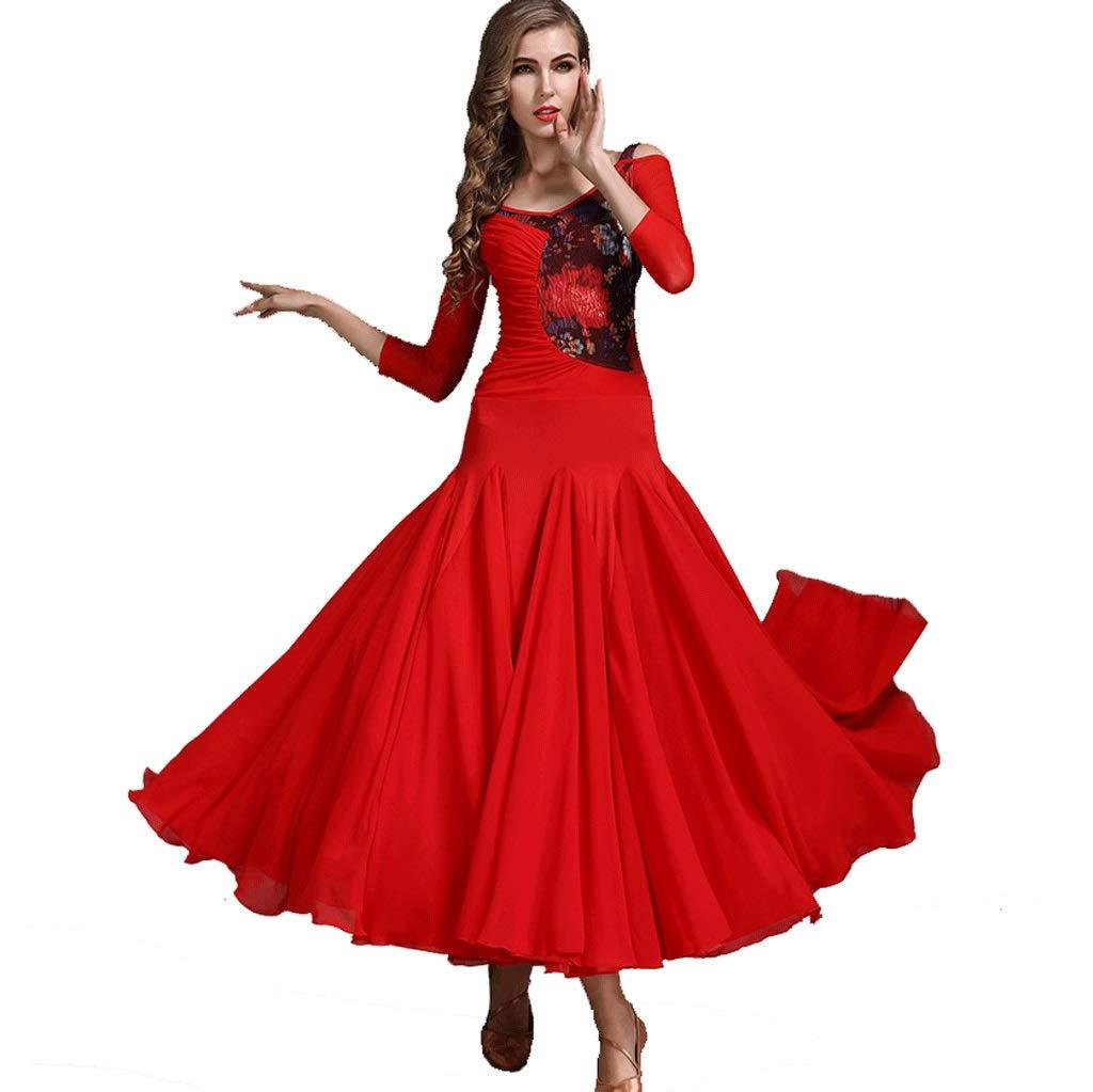 モダン 社交ダンス パフォーマンス/トレーニング ドレス レースの花国家標準ダンスワルツ プリーツスイングスカート (Color : 赤, Size : XL) 赤 X-Large