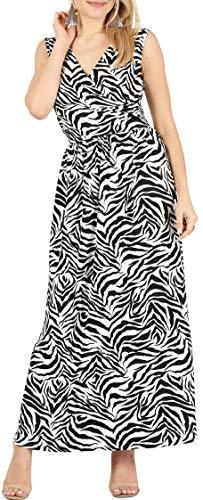 Sleeveless Long V-Neck Elastic Waist Wrap Maxi Dresses for Women- Made in U.S.A (Size Small (US 2-4), Zebra Print)