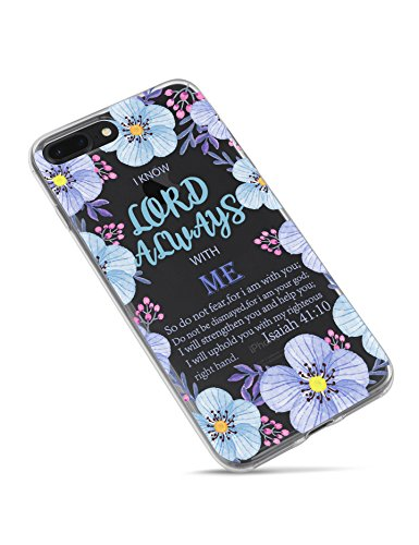 iPhone 7 Plus Case,iPhone 8 Plus Case,Bible Verses Inspirational Christian Quotes Isaiah 41:10 with Purple Floral Clear Flexible Cover Protector Case for iPhone 7/8 (5.5 inch)