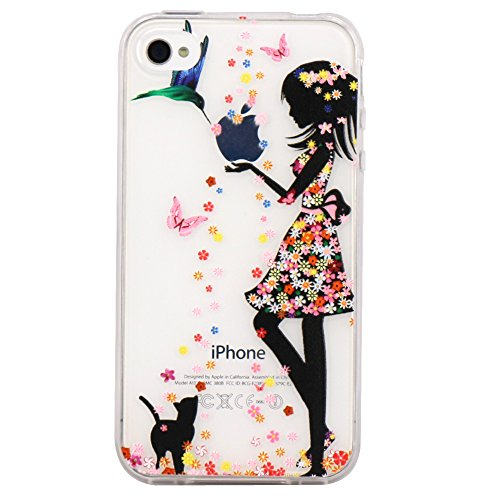 iPhone 4 Case, JAHOLAN Flower Clear Edge TPU Soft Case Rubber Silicone Skin Cover for iphone 4 4s - Flower Little Girl (Iphone 4s Case Girls)