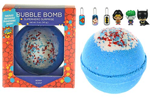 Superhero BUBBLE Bath Bomb for Kids with Surprise Toy for Boys and Girls Inside by Two Sisters Spa, Best Gift Idea, Large Scented Spa Fizzy, Fun Color, Lush Scent, Kid Safe, Vegan, Hand-made in USA -