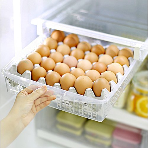 Mia home 30-Eggs Storage Organizer for Kitchen Refrigerator, Egg Tray, Egg Storage for Fridge, Pull out basket Organizer by Mia home
