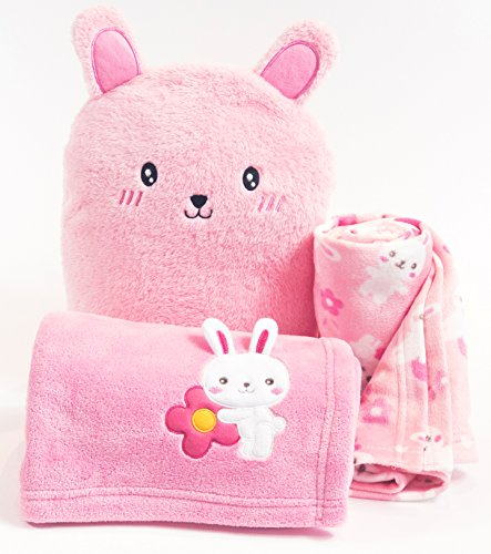 Pink Bunny Fleece Baby Blanket Set  Bunny Fleece Blanket