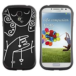 "Pulsar iFace Series Tpu silicona Carcasa Funda Case para SAMSUNG Galaxy S4 IV / i9500 / i9515 / i9505G / SGH-i337 , White Lady Mujer Triste emotivo Oscuro"""