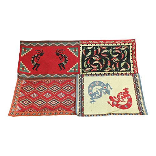Twisted Anchor Trading Co Southwest Placemats - Set of 4 Colorful Tapestry Design Southwestern Placemats - Includes Kokopelli, Peppers and More - Comes in a Gift Bag so It's Ready for Giving