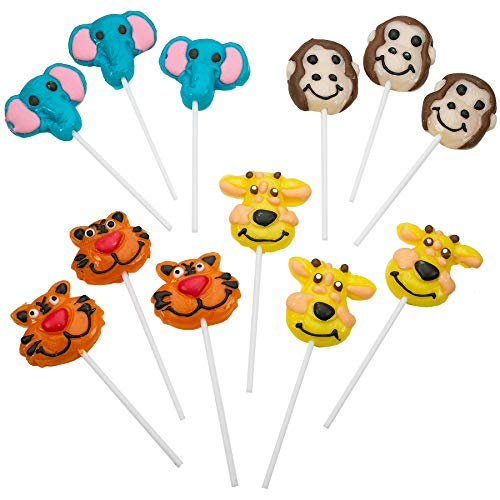 "2"" Zoo Animal Lollipops - Pack of 12 Assorted Fruit-Flavored Candy Suckers for Party Favors, Cake Decorations, Novelty Supplies or Treats for Halloween, Christmas, Baby Showers ()"