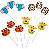 Kicko 2 Inch Zoo Animal Lollipops - Pack of 12