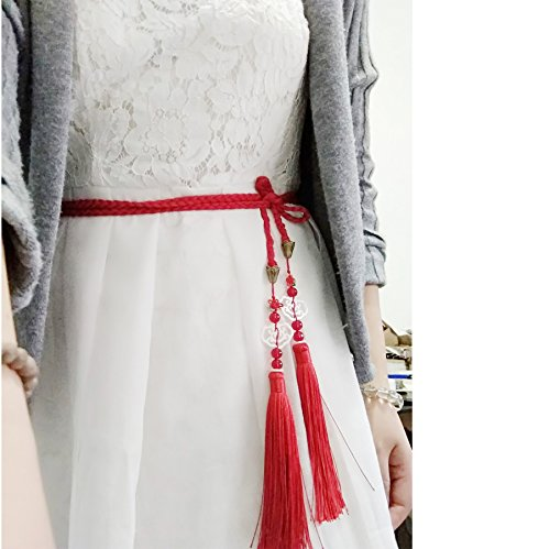 Store Clothing Chinese (FANTACCRAFTS Shell Carving Cheongsam Accessories Waist Strap Belt String Red Tassel HanFu GongTao Antique Han Chinese Clothing Ornament Pendant (Lucky Cloud))