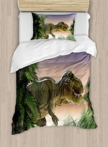 Ambesonne Jurassic Duvet Cover Set Twin Size, Dinosaur in The Jungle Trees Forest Nature Woods Scary Predator Violence, Decorative 2 Piece Bedding Set with 1 Pillow Sham, Green Blue Peach