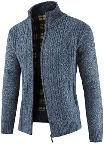 AGAING Men Stand-up Collar Sweater Thicken Knitwear Zip Coat Cardigan