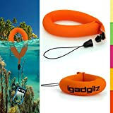 iGadgitz 1 Pack Neon Orange Waterproof Floating Wrist Strap suitable for Vtech Kidizoom Action Cameras