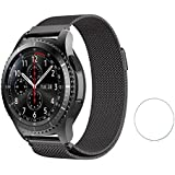 Brain Freezer Replacement Stainless Steel Milanese Loop Magnetic Lock Bracelet for Samsung Gear S3 Frontier / S3 Classis 22mm Black Plus Screen Guard