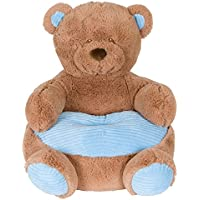 Soft Plush Teddy Bear Childrens Chair With Blue Corduroy Trim 18in