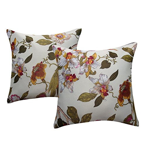 Flower Pillow Case Cushion Cover - Anady Pack of 2 Soft Colorful Flora Birds Decorative Pillow Cover Throw Cushion Case 18 X 18 Inch