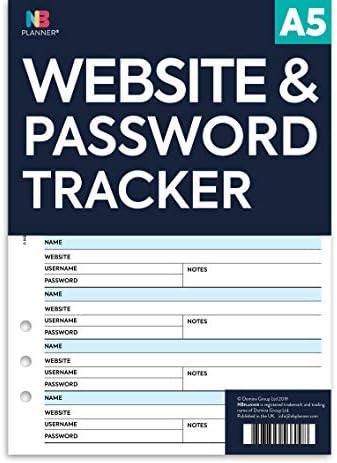 NB Planner Website- und Passwort-Tracker, Kalender, Refill-Planer geeignet für Filofax-Planer, farbig weiß