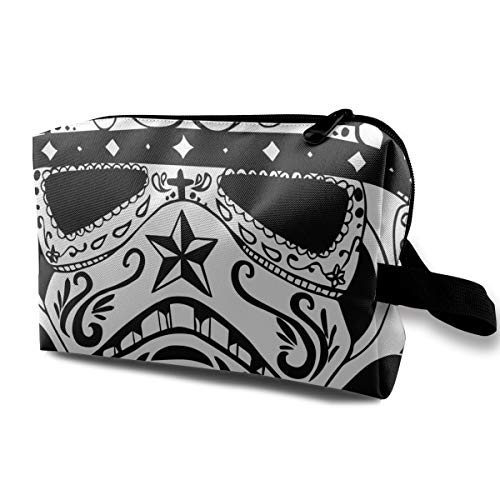 Black And White Halloween Sugar Skull Multi-function Travel Makeup Toiletry Coin Bag -