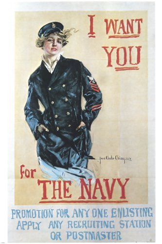 Vintage I Want You For The Navy Ww2 Recruiting poster woman in pea coat