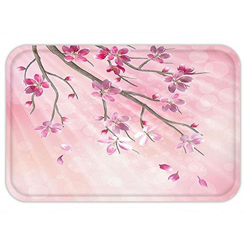 Kisscase Custom Door MatHouse Decor Illustration of Spring Tree Branch with BlossomSun Beamon Blurred Background Decor Pink Fuchsia