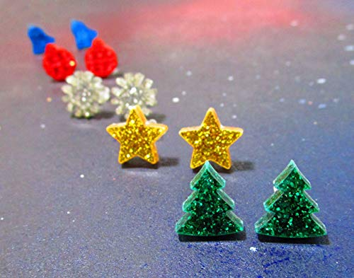 5 Pairs Christmas Stud Earrings Collection Gift Set, Xmas Tree, Ornament, Jingle Bells, Snowflake, Gold Star ()