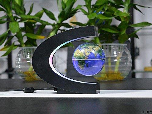 Tech Gifts 2017 Christmas - Fashion Home Decoration LED Floating Tellurion C Shape Magnetic Levitation Floating Globe World Map With LED Light US/UK/EU Plug (BLUE)
