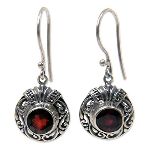 NOVICA .925 Sterling Silver and Garnet Round Dangle Earrings, Scarlet Ladybug