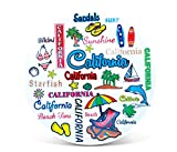 Puzzled 8 Inch California Style Round Plate 8 Inch California Style Round Plate Ceramic Plate - Famous Sites Theme - Unique Gift and Souvenir - Item #9113