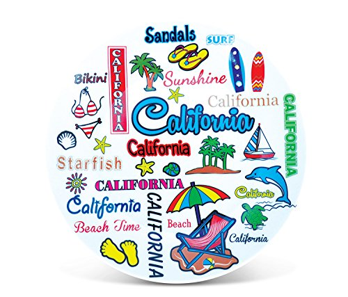 Puzzled 8 Inch California Style Round Plate 8 Inch California Style Round Plate Ceramic Plate - Famous Sites Theme - Unique Gift and Souvenir - Item #9113 by Puzzled