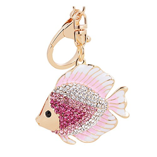 (Cute Goldfish Crystal Keychain Animal Key Ring Car& Bag Accessory Free with Gift Bag(Pink))