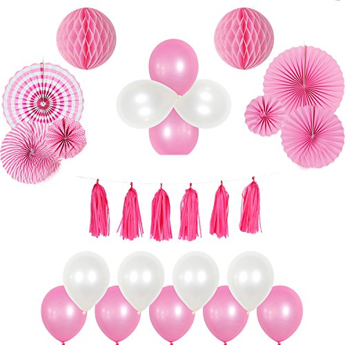 iMagitek Pink Theme Party Decoration Kit for Baby Girls Birthday, Wedding, Baby Shower - 2 Pcs Paper Honeycomb Balls - 6 Pcs Paper Fans - 1 Pack Paper Tassels - 10 Pink Balloons+10 White Balloons (Honeycomb Kit)