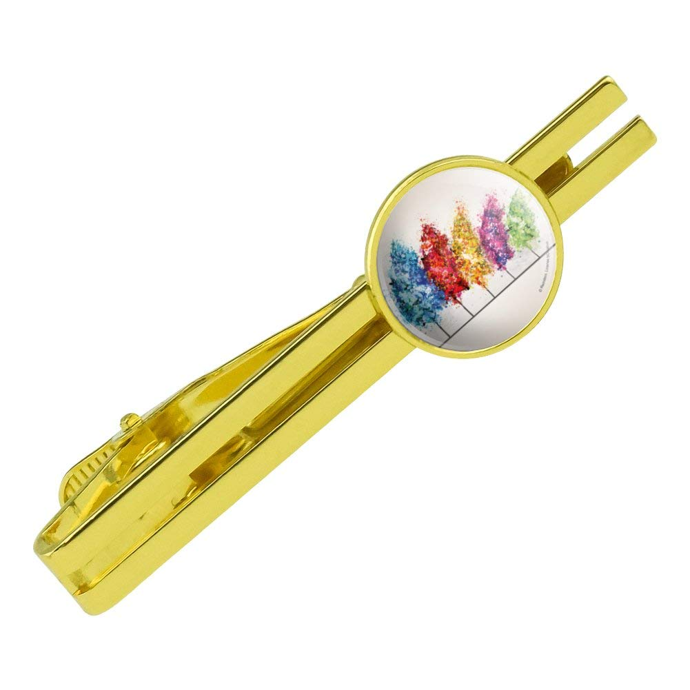 GRAPHICS /& MORE Row of Colorful Rainbow Trees Bending in The Wind Round Tie Bar Clip Clasp Tack Gold Color Plated