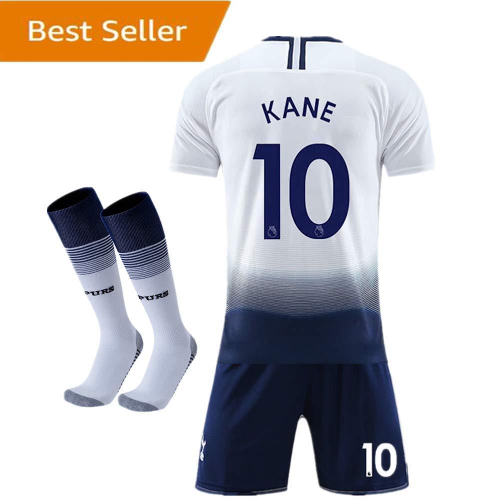 4f28702da0b Amazon.com  2018-2019 Tottenham Hotspur  10 Kane Home Kids Youth White  Soccer Jersey   Shorts   Socks  Clothing
