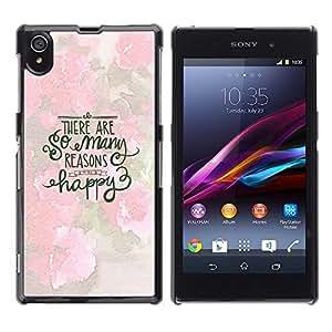 Feliz inspirada motivación Primavera- Metal de aluminio y de plástico duro Caja del teléfono - Negro - Sony Xperia Z1 L39