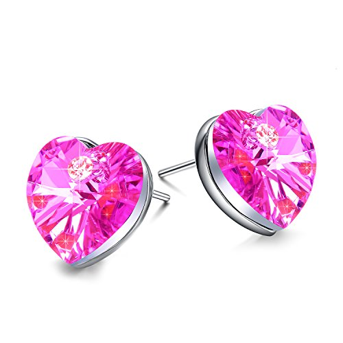 Valentines Day Present NEEMODA Pink Heart Crystal Womens Stud Earrings White Gold Plated Fashion Jewelry Gifts for Her Birthday Anniversary Christmas Valentines Day