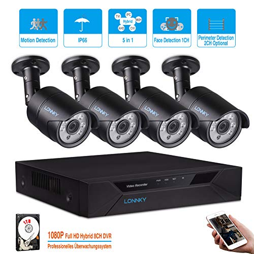 LONNKY 8CH FULL 1080P Intelligent 5 in1 HD-TVI DVR Home Security System 1TB HDD with 4 Waterproof 2.0MP Bullet Camera, 80ft Night Vision, Support Intelligent Face Detection, Perimeter Detection, Black