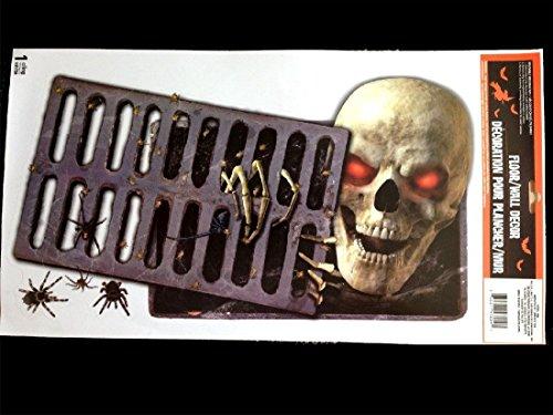 Gothic Horror-PEEPING REDEYE SKULL-Wall Sticker Floor Cling Halloween Decoration