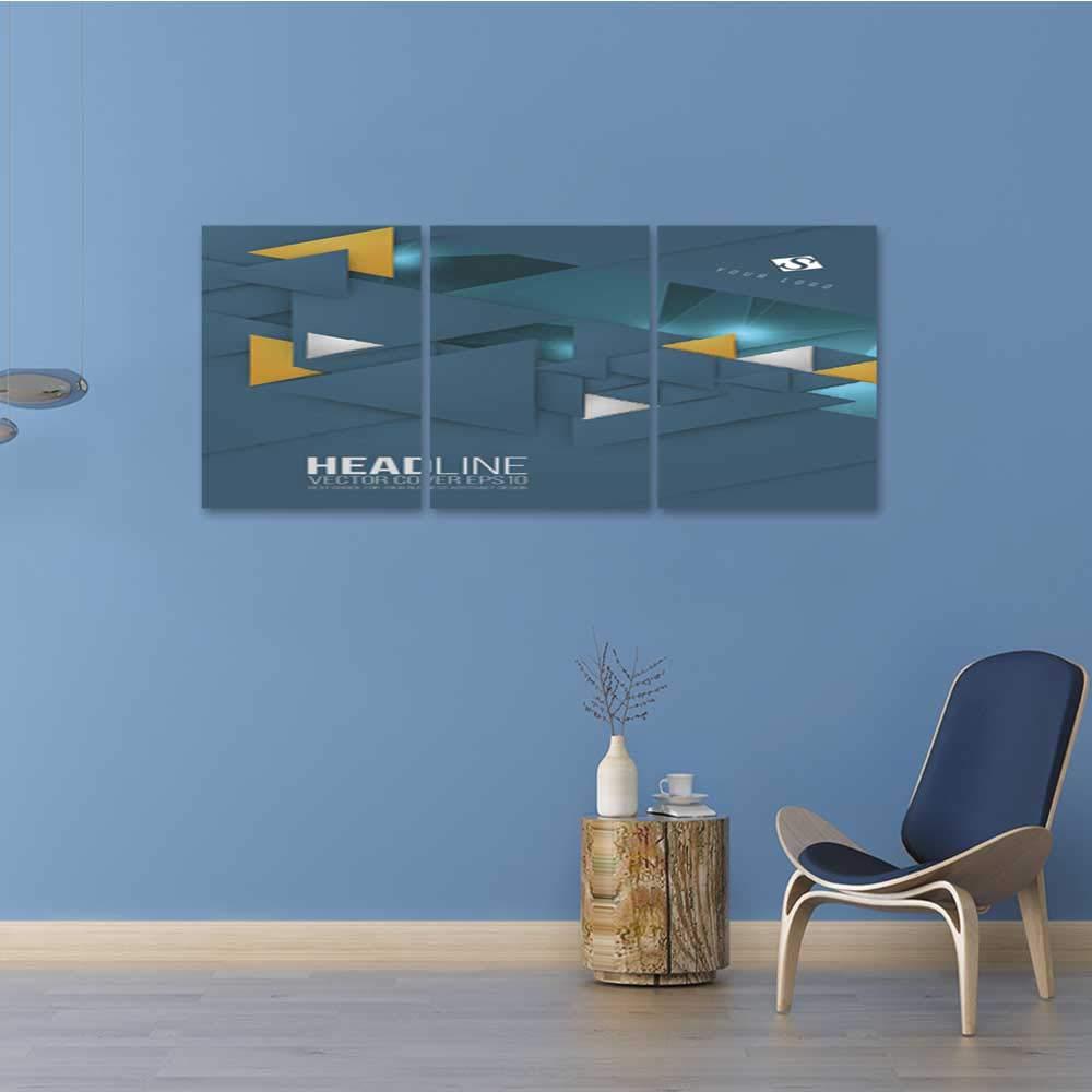 Unpremoon Triptych artAbstract Triangle Brochure Flyer Leflet Design Vector Template in A 24''x36''x3pcs by Unpremoon (Image #2)